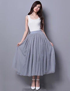 Women's Solid White / Black / Gray SkirtsSimple Midi