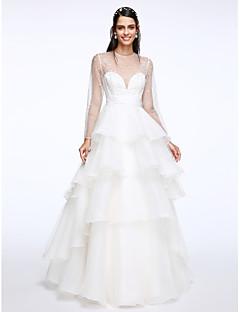 Lanting Bride® Linea-A Abito da sposa Lungo Con decorazione gioiello Organza con A strati