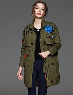 Damen Stickerei / Buchstabe Street Schick Ausgehen Jacke,Hemdkragen Frühling / Herbst Langarm Grün Baumwolle Undurchsichtig