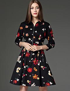 Dame Vintage I-byen-tøj A-linje Kjole Blomstret,Krave Over knæet 3/4 ærmelængde Sort Bomuld / Polyester Forår Højtaljede Uelastisk Medium