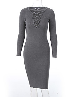 Women's Going out / Club Sexy / Simple Bodycon DressSolid V Neck Midi Long Sleeve