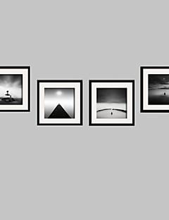 Landschaft / Stillleben / Menschen Gerahmtes Leinenbild / Gerahmtes Set Wall Art,PVC Schwarz Passpartout inklusive Mit Feld Wall Art