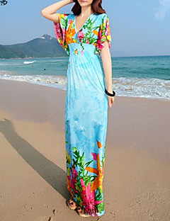AOLD® Women's Sexy/Beach/Print/Maxi/Plus Sizes Stretchy Sleeveless Maxi beach Dress (Vicose/Polyester/Lycra)