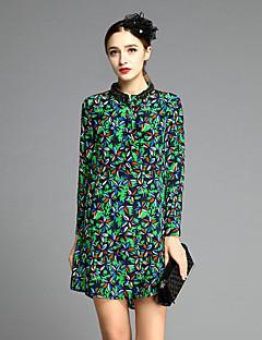 joj Frauen-Mantel ausgehen dressfloral lange Ärmel grüner Seide Frühling stehen