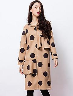 room404 női kiment vintage műszak dresspolka dot kerek nyakú, térdig érő, hosszú ujjú b