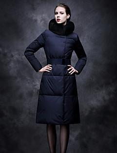 ארוך מעיל פוך מעיל נשים,אחיד סקסי יום יומי\קז'ואל פוליאסטר נוצות ברווז לבנות-שרוול ארוך צווארון עגול אפור