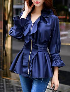 Mulheres Blazer Happy-Hour / Trabalho / Férias Vintage / Fofo / Moda de Rua Primavera / Outono,Sólido / Patchwork Azul PoliésterColarinho