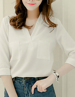 Women's Work Simple Summer Shirt,Solid V Neck ¾ Sleeve Blue / Pink / White / Black / Gray Polyester Thin