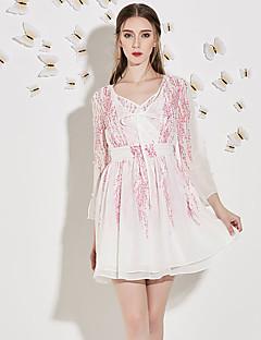 Damen A-Linie Kleid-Ausgehen Niedlich Druck V-Ausschnitt Übers Knie ¾-Arm Weiß Polyester Herbst Hohe Hüfthöhe Unelastisch Mittel