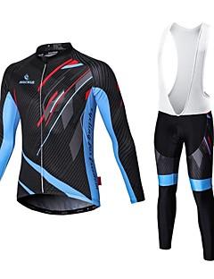 Malciklo Camisa com Calça Bretelle Homens Manga Comprida Moto Camisa/Roupas Para Esporte Tights BibSecagem Rápida Zíper Frontal Vestível