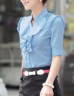 Vrouwen Eenvoudig / Street chic Lente / Zomer / Herfst Overhemd,Nette schoenen Effen Opstaand Korte mouw Blauw / Rood / Wit / Groen Dun