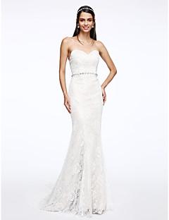 Lanting Bride® Sellő fazon Menyasszonyi ruha Udvari uszály Szív alakú Csipke val vel Kristály / Csipke