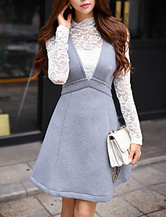 Women's Going out Sexy / Vintage Lace Slim Shirt,Solid Turtleneck Long Sleeve
