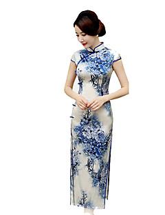나와 클래식/전통적 롤리타 코스프레 로리타 드레스 블루 빈티지 짧은 소매 긴 길이 용 실크