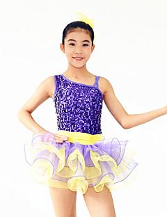 Danse classique Robes Enfant Spectacle Elasthanne Polyester Dentelle Paillété Tulle Volants 2 Pièces Sans manche Taille moyenneCollant