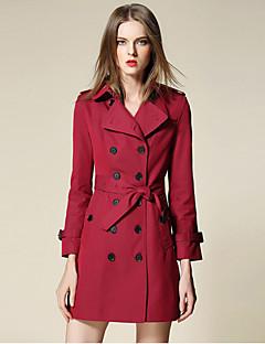 burdully kvinner går ut enkel grøft coatsolid skjortekragen Langermet fall rød bomull / polyester medium