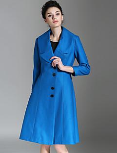 burdully Frauen formal einfache coatsolid steigende Revers lange Ärmel Winter blau Wolle / Polyester-Medium