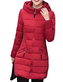 Damen Daunen Mantel,Lang Einfach / Street Schick Lässig/Alltäglich / Arbeit / Übergröße Solide-Polyester Weiße Entendaunen LangarmBlau /