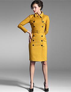Baoyan® Damen Ständer Lange Ärmel Knielänge Kleid-150689