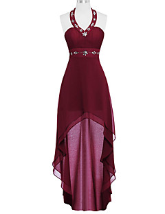Cocktail Party Prom Dress - Elegant A-line Halter Asymmetrical Chiffon with Beading