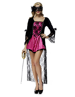Performance Outfits Women's Performance Lace / Ruffles 2 Pieces Fuchsia Performance Long Sleeve Natural Dress / Mask