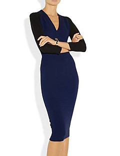 Women's Formal Sexy Bodycon DressSolid V Neck Knee-length Long Sleeve Blue / Red Polyester Summer