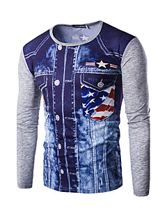 Men's Casual Stitching Color Long Sleeve Five-pointed Star Pattern Printing Denim Pullover T-Shirt