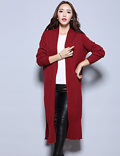 Women's Going out Street chic Long Cashmere,Solid Blue / Pink / Red / Beige / Black / Gray V Neck Long Sleeve Cashmere /