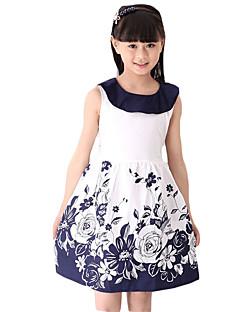 Mädchen Kleid-Ausgehen Blumen Andere Sommer Blau / Rot