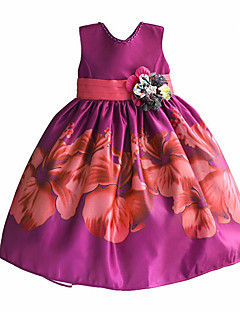 Girl's Dress Purple Flower Print Pearl Party Pageant Dancing Baby Kids Clothing