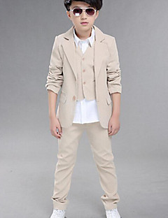 Boy's Formal Solid Suit & BlazerCotton All Seasons Black / Beige