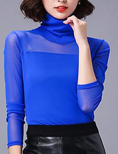 Mulheres Blusa Plus Sizes / Sensual Primavera,Sólido Azul / Vermelho / Branco / Preto / Marrom / Verde / Roxo Algodão / Raiom Gola Redonda