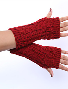 kvinders vinter uld strikning hamp dekorativt mønster solid farve handsker