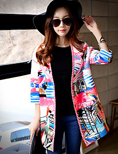 Women's Going out / Casual/Daily Cute / Street chic Trench CoatPrint / Animal Print / Color Block Shirt Collar