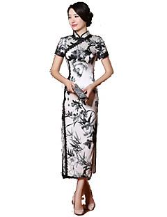 나와 클래식/전통적 롤리타 코스프레 로리타 드레스 화이트 / 블랙 프린트 짧은 소매 긴 길이 용 실크