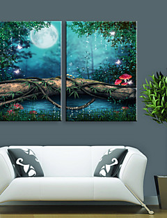 E-HOME® Stretched LED Canvas Print Art Lin Small Lake Scenery LED Flashing Optical Fiber Print Set of 2