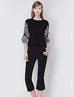 Damen Standard Strickjacke-Lässig/Alltäglich Einfach Patchwork Weiß / Schwarz Rundhalsausschnitt ¾-Arm Polyester Herbst Mittel