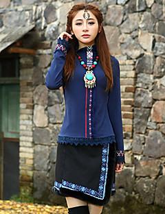 Kvinders Kineseri Over knæet Nederdele Elastisk Rayon / Polyester