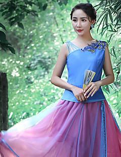 Damen Stickerei Retro Ausgehen Tank Tops,Asymmetrisch Sommer Ärmellos Blau Polyester Mittel