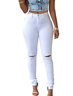 Women's Solid More Colors Slim Jeans Pants Simple / Street chic Hollow Out