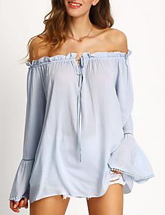 Tee-shirt Aux femmes,Couleur Pleine Décontracté / Quotidien Chic de Rue Printemps / Automne Manches Longues Bateau Bleu Coton Moyen