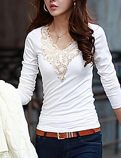 Alla årstider Enfärgad Långärmad Ledigt/vardag T-shirt,Enkel / Streetchic Kvinnors Rund hals Bomull Medium Vit / Svart