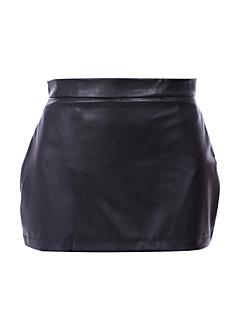 Mulheres Saias Mini Sexy / Casual Poliuretano Micro-Elástica Mulheres