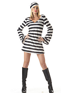 Cosplay Costumes Party Costume Prisoner Career Costumes Festival/Holiday Halloween Costumes Black/White Striped Dress More Accessories