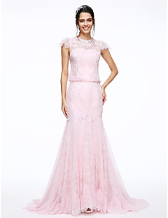 Lanting Bride® 핏 & 플레어 웨딩 드레스 스윕 / 브러쉬 트레인 쥬얼리 레이스 와 아플리케