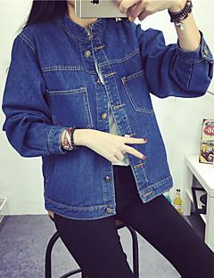 Women's Going out Cute Winter Denim JacketsSolid Shirt Collar Long
