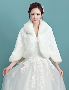 Women's Wrap Shawls 3/4-Length Sleeve Faux Fur Ivory Wedding / Party/Evening Fold-over Collar 34cm Pattern Open Front