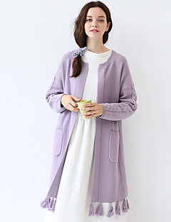 Idylle Insel Frauen Ausgehen / casual / Tages Jahrgang / simple lange cardigansolid lila Rundhals Langarm Herbst