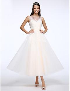 Lanting Bride® A-라인 웨딩 드레스 발목 길이 스쿱 튤 와 아플리케 / 버튼