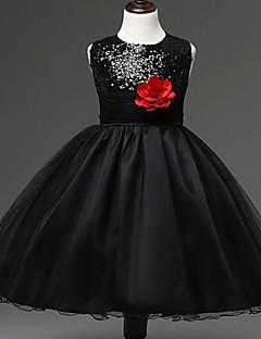 Plesové šaty Ke kolenům Šaty pro květinovou družičku - Organza Bez rukávů Klenot s Květina(y) / Flitry